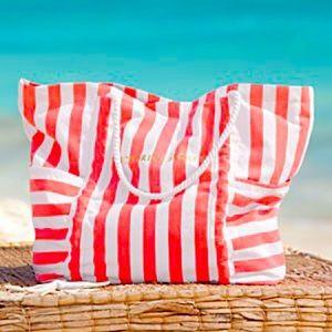 Victoria's Secret orange beach canvas tote bag